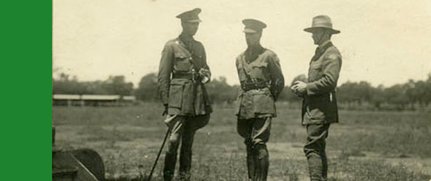 Three soldiers at the World War I Army Camp Dubbo, 1917